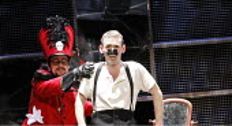 THE NOSE   by Dimitri Shostakovich   conductor: Patrick Bailey   director: John Fulljames,l-r: Daniel Auchincloss (Poice Inspector), Jeremy Huw Williams (Kovalyov),The Opera Group / Brighton Festival...