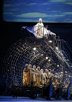 THE NOSE   by Dmitry Shostakovich   based on the story by Gogol   ,conductor: Valery Gergiev   director: Yury Alexandrov,top front: Rada Baklunova (Sirin / Good Angel)   rear: ?? as (Alckonost / Bad A...