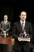 RICHARD II   by Shakespeare   director: Trevor Nunn,IV/i - l-r: Ben Miles (Henry Bolingbroke), Kevin Spacey (Richard II),Old Vic Theatre, London SE1                  04/10/2005,