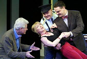 'ANYONE CAN WHISTLE' (Laurents/Sondheim)~l-r: James Smillie (Shub), Paula Wilcox (Cora), Aaron Shirley (Magruder), Mark Heenehan (Cooley)~The Gryphon / Bridewell Theatre, London EC4              08/01...