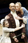 'THE BEGGAR'S OPERA' (Vaclav Havel after Gay)~l-r: Claire Redcliffe (Lucy), Howard Saddler (Macheath), Octavia Walters (Polly)~Orange Tree Theatre   Richmond / England...