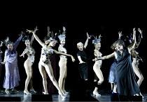 'FOLLIES' (Sondheim/Goldman)~left, in mauve: Julia Goss (Heidi Schiller)   centre, in black: Joan Savage (Hattie Walker)   right: Shezwae Powell (Stella Deems)~Royal Festival Hall, London SE1...