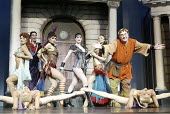 'A FUNNY THING HAPPENED ON THE WAY TO THE FORUM' (Shevelove/Gelbart/Sondheim - director: Edward Hall)~rear left: David Schneider (Lycus)   right: Desmond Barrit (Prologus)   with courtesans~Olivier Th...