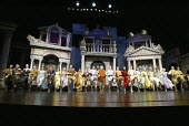 'A FUNNY THING HAPPENED ON THE WAY TO THE FORUM' (Shevelove/Gelbart/Sondheim - director: Edward Hall)~opening number - centre: Desmond Barrit (Prologus)~Olivier Theatre / National Theatre, London SE1...