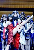 'JOSEPH AND THE AMAZING TECHNICOLOR DREAMCOAT' (Rice/Lloyd Webber)~centre, l-r: Kay Murphy (Mrs Potiphar), James Head (Jacob/Potiphar), Stephen Gately (Joseph)~New London Theatre, WC2...