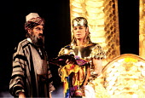 'JOSEPH AND THE AMAZING TECHNICOLOR DREAMCOAT'~l-r: Aubrey Woods (Jacob/Potiphar), Jason Donovan (Joseph)~Palladium  06/91