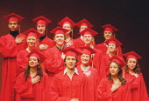 'MERRILY WE ROLL ALONG' (Sondheim)~'Graduation' - the company~Donmar Warehouse, London WC2  11/12/2000