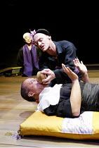 'PACIFIC OVERTURES' (Sondheim/Weidman)   (director: Garry Griffin)~'Chrysanthemum Tea'~l-r: Togo Igawa (Physician), (lying down) Joseph Anthony Feronda (Shogun), Jerome Pradon (Shogun's mother)~Donmar...