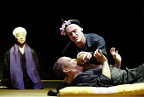 'PACIFIC OVERTURES' (Sondheim/Weidman)   (director: Garry Griffin)~'Chrysanthemum Tea' - l-r: Togo Igawa (Physician), (lying down) Joseph Anthony Feronda (Shogun), Jerome Pradon (Shogun's mother)~Donm...