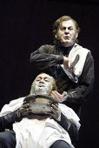 'SWEENEY TODD' (Sondheim - director: Neil Armfield)~(top) Thomas Allen (Sweeney Todd), Jonathan Veira (Judge Turpin)~The Royal Opera /   Covent Garden, London WC2       15/12/2003
