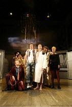 THE TAMING OF THE SHREW   by Shakespeare   director: Edward Hall <br>,front, l-r: (kneeling) Jack Tarlton (Hortensio), Tony Bell (Tranio), ,Dugald Bruce-Lockhart (Petruchio), Simon Scardifield (Kathar...
