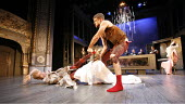 THE TAMING OF THE SHREW   by Shakespeare   director: Edward Hall <br>,l-r: Simon Scardifield (Katharine), Dugald Bruce-Lockhart (Petruchio),Propeller / Old Vic Theatre, London SE1                    1...
