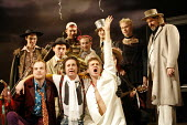 THE TAMING OF THE SHREW   by Shakespeare   director: Edward Hall <br>,front, l-r: Jack Tarlton (Hortensio), Tony Bell (Tranio), Dugald Bruce-Lockhart (Petruchio),rear right, l-r: Simon Scardifield (Ka...