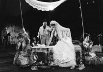 THE TAMING OF THE SHREW   by Shakespeare - director: Di Trevis <br>~front, l-r: Linda Polan (A Widow), Wolfe Morris (Baptista Minola), Sian Thomas (Katharina), Sara Mair-Thomas (Bianca) ~Royal Shakesp...