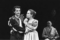 THE TAMING OF THE SHREW   by Shakespeare    design: Tim Goodchild  director: Bill Alexander <br>  Anton Lesser (Petruchio), Amanda Harris (Katherine) ~Royal Shakespeare Company (RSC), Royal Shakespear...