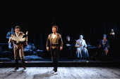 THE TAMING OF THE SHREW  by Shakespeare  design: Tim Goodchild  director: Bill Alexander <br> ~left: Richard McCabe (Tranio)   centre: John McAndrew (Lucentio)   seated rear, in white: Paul Webster (G...