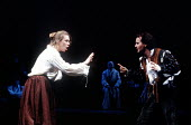 THE TAMING OF THE SHREW  by Shakespeare  design: Tim Goodchild  director: Bill Alexander <br>~Amanda Harris (Katherine), Anton Lesser (Petruchio)~Royal Shakespeare Company (RSC), Royal Shakespeare The...