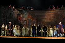 DON GIOVANNI  music: Mozart  libretto: da Ponte  conductor: Colin Davis  design: Maria Bjornson  lighting: Paul Pyant  director: Francesca Zambello ~end of Act 1 - left: Bryn Terfel (Don Giovanni)   c...