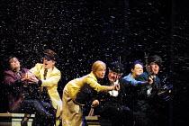 'PARADISE MOSCOW' (Shostakovich)~driving across Moscow~l-r: Loren Geeting (Boris), Daniel Broad (Sasha),  Janie Dee (Lidochka), Steven Beard (Baburov), Gillian Kirkpatrick (Masha), Alan Oke (Sergei) ~...