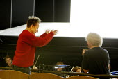'IDOMENEO' (Mozart)~Peter Sellars - director (left) applauds cast at the end of a dress rehearsal, with (right)  Simon Rattle - conductor~Glyndebourne Festival Opera  10/06/2003~(c) Donald Cooper/Phot...