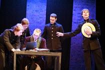 TWELFTH NIGHT   by Shakespeare   director: Declan Donnellan <br>,seated: Vladimir Vdovichenkov (Orsino)   right: Andrey Kuzichev (Viola/Cesario),Chekhov International Theatre Festival - Swan Theatre,...