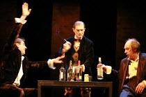 TWELFTH NIGHT   by Shakespeare   director: Declan Donnellan <br>,II/iii - l-r: Dmitry Dyuzhev (Sir Andrew Aguecheek), Igor Yasulovich (Feste), Alexander Feklistov (Sir Toby Belch),Chekhov Internationa...