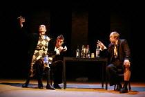 TWELFTH NIGHT   by Shakespeare   director: Declan Donnellan <br>,II/iii - l-r: Igor Yasulovich (Feste), Dmitry Dyuzhev (Sir Andrew Aguecheek), Alexander Feklistov (Sir Toby Belch),Chekhov Internationa...