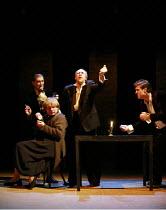 TWELFTH NIGHT   by Shakespeare   director: Declan Donnellan <br>,II/iii - l-r: Igor Yasulovich (Feste), Ilya Ilin (Maria),,Alexander Feklistov (Sir Toby Belch), Dmitry Dyuzhev (Sir Andrew Aguecheek),C...
