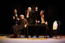 TWELFTH NIGHT   by Shakespeare   director: Declan Donnellan <br>,II/iii - l-r: Igor Yasulovich (Feste), Ilya Ilin (Maria), Alexander Feklistov (Sir Toby Belch), Dmitry Dyuzhev (Sir Andrew Aguecheek),C...
