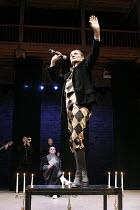 TWELFTH NIGHT   by Shakespeare   director: Declan Donnellan <br>,seated rear: Vladimir Vdovichenkov (Orsino)   fore: Igor Yasulovich (Feste), ,Chekhov International Theatre Festival,Swan Theatre, Stra...