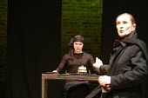 TWELFTH NIGHT   by Shakespeare   director: Declan Donnellan <br>,l-r: Alexey Dadonov (Olivia), Igor Yasulovich (Feste),Chekhov International Theatre Festival - Swan Theatre, Stratford-upon-Avon, Engla...