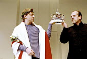 RICHARD II  by Shakespeare  design: Sue Wilmington with David Fielding  lighting: Simon Kemp  fights: Terry King  director: Steven Pimlott ~Richard reluctant to surrender his crown to Bolingbroke - l-...