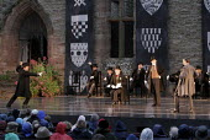 'RICHARD II' (Shakespeare - director: Steven Berkoff)~I/iii - front, l-r: Nick Waring (Thomas Mowbray), (seated) Timothy Walker (King Richard II), Michael Cronin (John of Gaunt/Duke of Lancaster), Jos...