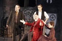 'RICHARD II' (Shakespeare - director: Steven Berkoff),II/i - Gaunt: 'This royal throne of kings, this sceptred isle...' - l-r: Paul McCleary (Duke of York)   seated: Michael Cronin (John of Gaunt/Duke...