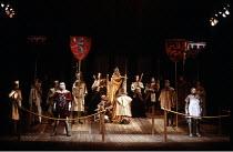 RICHARD II   by Shakespeare   director: Terry Hands   design: Farrah,front left: John Bowe (Mowbray)   rear centre: Alan Howard (Richard II)   front right: David Suchet (Bolingbroke),Royal Shakespeare...