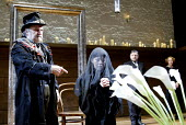 'TWELFTH NIGHT' (Shakespeare -  director: Sam Mendes)~l-r: Anthony O'Donnell (Feste), Helen McCrory (Olivia), Simon Russell Beale (Malvolio), Selina Cadell (Maria)~Donmar Warehouse, London WC2...