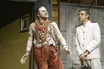 'TWELFTH NIGHT' (Shakespeare - director: Stephen Beresford)~l-r: Kulvinder Ghir (Feste), Paul Bhattacharjee (Malvolio)~Albery Theatre, London WC2                 26/08/2004
