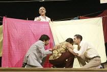 'TWELFTH NIGHT' (Shakespeare - director: Stephen Beresford)~Malvolio (rear, Paul Bhattacharjee) overheard   front, l-r: Shiv Grewal (Sir Toby Belch), Neil D'Souza (Fabian), Paul Bazely (Sir Andrew Agu...