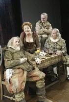 'TWELFTH NIGHT' (Shakespeare - director: Stephen Unwin)~l-r: Michael Cronin (Toby Belch), Susan Brown (Maria), Alan Williams (Feste), Geoffrey Beevers (Andrew Aguecheek)~English Touring Theatre / Oxfo...