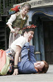 'TWELFTH NIGHT' (Shakespeare - director: Timothy Sheader),III/i - from top: Tricia Crowe (Olivia's servant, with Freda), Sirine Saba (Olivia), Mariah Gale (Viola),Open Air Theatre / Regent's Park, Lon...