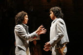 'TWELFTH NIGHT' (Shakespeare - director: Michael Boyd)~V/i - the twins reunited: Kananu Kirimi (Viola), Gurpreet Singh (Sebastian) ~Royal Shakespeare Company (RSC), Royal Shakespeare Theatre, Stratfor...