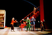 'TWELFTH NIGHT' (Shakespeare)~l-r: Susan Tracy (Maria), David Calder (Sir Toby Belch), John Quayle (Sir Andrew Aguecheek), Stephen Boxer (Feste) with (on stairs) Philip Voss (Malvolio) ~RSC / RST   St...