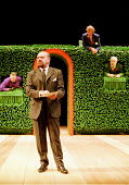 TWELFTH NIGHT by Shakespeare   director: Adrian Noble~centre: Philip Voss (Malvolio - with Maria/'Olivia's' letter)~rear, l-r: Malcolm Scates (Fabian), John Quayle (Aguecheek), David Calder (Belch)~RS...