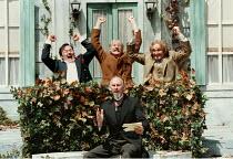 'TWELFTH NIGHT' (Shakespeare)~front: Christopher Godwin (Malvolio)   rear, l-r: Peter Forbes (Sir Toby Belch), ~Tony Whittle (Fabian), Paul Raffield (Sir Andrew Aguecheek) ~Open Air Theatre, Regent's...