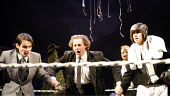 TWELFTH NIGHT   by Shakespeare   director: Edward Hall <br>,l-r: Tam Williams (Viola), Tony Bell (Feste), Simon Scardifield (Sir Andrew Aguecheek),Propeller / Old Vic Theatre, London SE1...