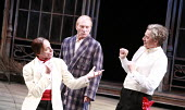 TWELFTH NIGHT   by Shakespeare   director: Philip Franks <br>,l-r: Michael Feast (Feste), Patrick Stewart (Malvolio), Paul Shelley (Sir Toby Belch), Chichester Festival Theatre / West Sussex, England...
