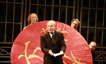 TWELFTH NIGHT   by Shakespeare   director: Philip Franks ,II/v - Malvolio reads the letter ,l-r: (rear) Scott Handy (Sir Andrew Aguecheek), Patrick Stewart (Malvolio), Paul Shelley (Sir Toby Belch), C...