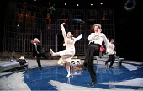 TWELFTH NIGHT   by Shakespeare   director: Philip Franks <br>,II/iii - l-r: Scott Handy (Sir Andrew Aguecheek), Suzanne Burden (Maria), Paul Shelley (Sir Toby Belch), Michael Feast (Feste),Chichester...