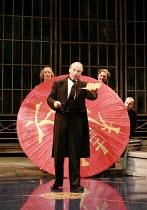 TWELFTH NIGHT   by Shakespeare   director: Philip Franks ,II/v - Malvolio reads the letter ,l-r: (rear) Scott Handy (Sir Andrew Aguecheek), Patrick Stewart (Malvolio), ,Paul Shelley (Sir Toby Belch),...