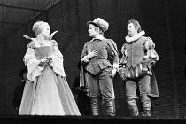 TWELFTH NIGHT by Shakespeare design: Christopher Morley lighting: Brian Harris director: John Barton ~l-r: Lisa Harrow (Olivia), Judi Dench (Viola), Richard Pasco (Orsino)~Royal Shakespeare Company (R...
